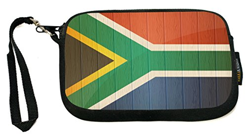 Rikki Knight South Africa Flag on Distressed Wood - Neoprene Clutch Wristlet Coin Purse with Safety Closure - Ideal case for Cosmetics Case, Camera Case, Cell Phones, Passport, etc.. by Rikki Knight