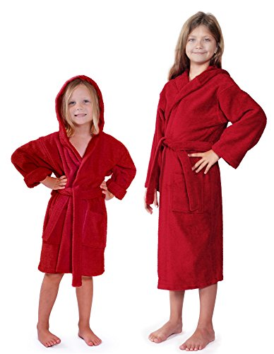 Indulge Turkish Linen Girls Terry Bathrobe, Hooded, 100% Cotton, Made In Turkey (Small/Medium, (Child Red Hooded Robe)