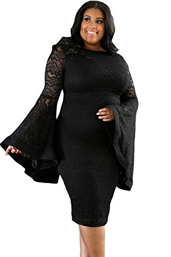 Buy bell sleeve black lace dress - 9
