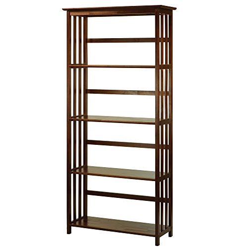 Oak Mission Shelves 5 Bookcase - Casual Home Mission Style 5-Shelf Bookcase, Walnut