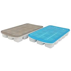 Juego de 215compartimento de cubitos de hielo Formas en 2colores diferentes (Azul y Gris) con tapa/Fácil Manejo/de plástico/–Cubitera/cubitos de hielo de depósito/eiwürfel de caja, para bebidas, agua, soda, Whiskey, Cócteles. Ice Cubes. Alimentos Real.