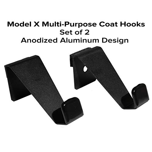 (EVHooks.com Coat Hooks Designed for Tesla Model X - Black (Set of 2) - Anodized Aluminum Seat Headrest/Seatback Hanger Clothes Holder)