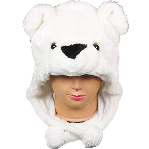Animal Head Super Soft Plush Childrens Hat - Polar bear ()