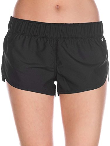 Hurley Women's Apparel Junior's Supersuede 2.5 inch Beachrider Board Shorts, Black/Black//White 5, L