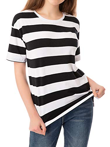 Striped T Shirt for Women Short Sleeve Crew Neck Summer Loose Casual Tee Tops - Girls Striped Top Shirt