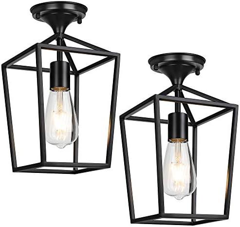 Semi-Flush Mount Ceiling Lights, Black Industrial Ceiling Light Fixtures, E26 E27 Base Farmhouse Lighting for Porch Hallway Stairway Garage Laundry Room, 2 Packs