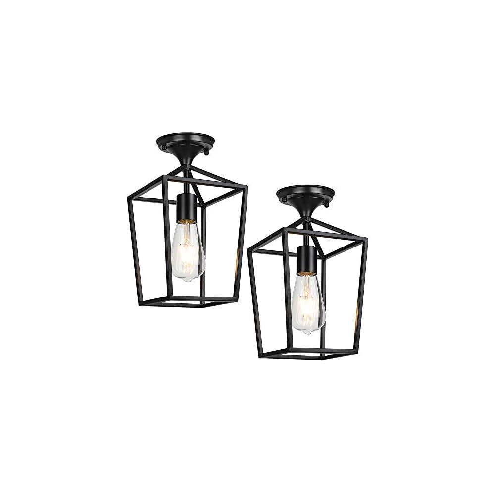 Semi-Flush Mount Ceiling Lights, Black Industrial Ceiling Light Fixtures, E26 E27 Base Farmhouse Lighting for Porch…