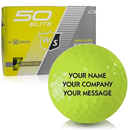 Wilson Staff Fifty Elite イエロー パーソナライズゴルフボール   B07N883B7K