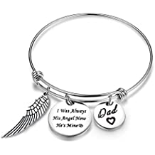 Ensianth I Was Always His Angel Now He's Mine Dad Expendable Pendant Bangle with Angel Wing