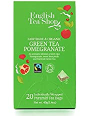 English Tea Shop Organicgreen Tea Pomegranate, Pyramid Sachets, 40g