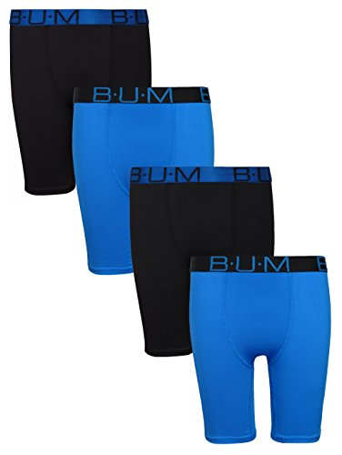 'B.U.M. Equipment Boys\' Performance Dri-Fit Compression Boxer Briefs, Black & Blue, X-Small / 4-5'