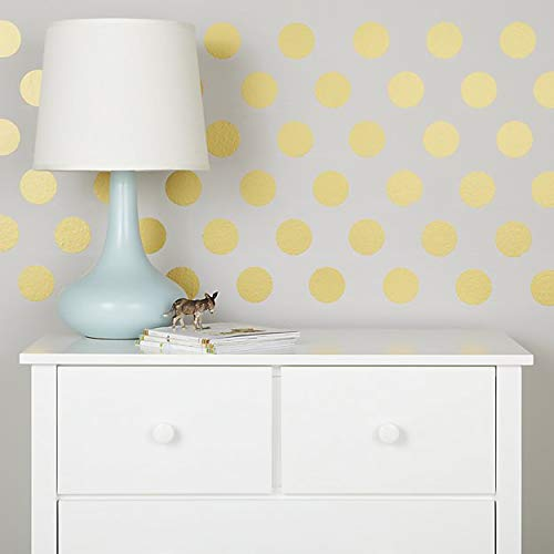 Vinyl Polka Dots Wall Decal – Choose Color and Size - Safe on Walls & Paint - Metallic and Basic Colors- Round Circle Art Glitter Stickers - Baby Nursery Room Decor (Gold, 1 INCH-450 DOTS) (Glitter Basic)