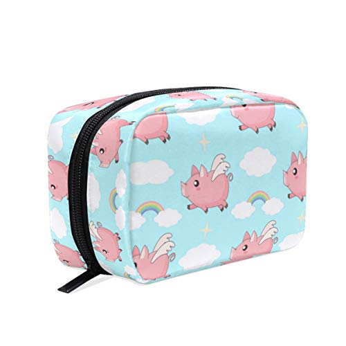 Wamika Cute Cartoon Pink Pig Makeup Bag Cosmetic Bag Toiletry Travel Bag Case for Women, Clouds Rainbows Portable Organizer Storage Pouch Bags Box