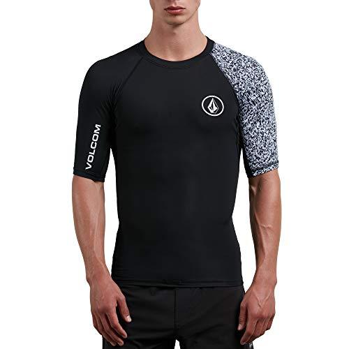 Volcom Men's Lido Block Short Sleeve Rashguard, Black, Large