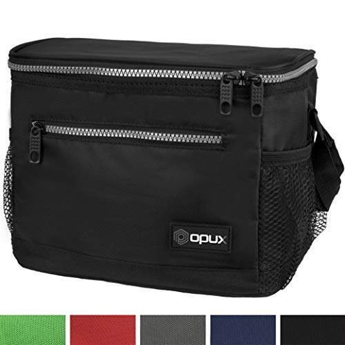 OPUX Premium Lunch Box, Insulated Lunch Bag for Men Women Adult | Durable School Lunch Pail for Boys, Girls, Kids | Soft Leakproof Medium Lunch Cooler Tote for Work Office | Fits 8 Cans (Black)]()