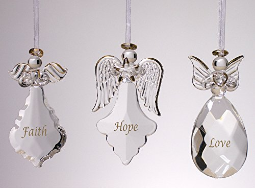 Heart Angel Figure (Faith Hope Love Angel Ornaments - Set of 3 - FAITH HOPE LOVE Written on Each Ornament in Gold)