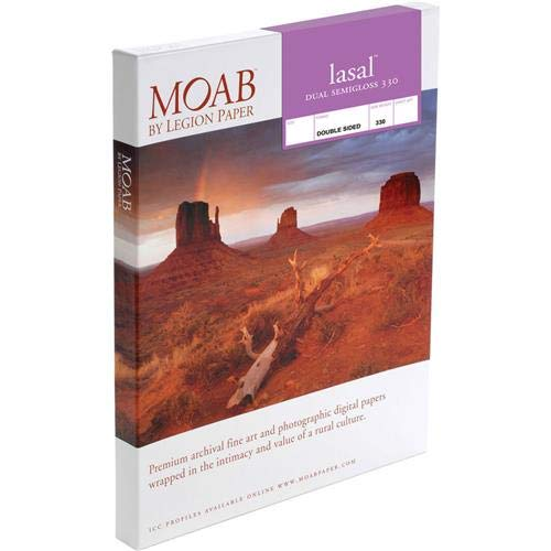 Moab Lasal Dual Semigloss 330gsm Double Sided Inkjet Paper, 13x19'', 25 Sheets
