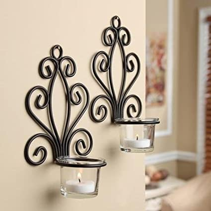 Scroll Wall Sconce Candleholders (2 Pack) (Candle Holder, 1)