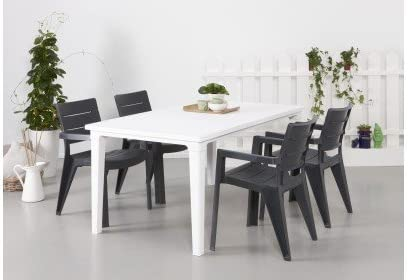 Mesa para terraza o jardín. Medidas 94X165X74 cm, color blanco.: Amazon.es: Hogar