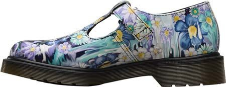 Dr.Martens Womens Polley Slime Floral T-Bar Violet Leather Shoes 38 EU ve6jmLQiNl
