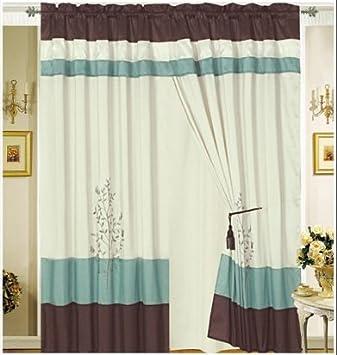 Octorose R Pair Of Aqua Blue Brown Beige Embroidery Design Window Curtain Drapes