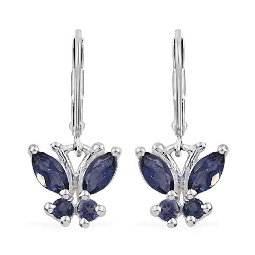 925 Sterling Silver Iolite Blue Butterfly Lever Back Dangle Drop Earrings for Women Jewelry Gift Cttw 0.5 ()