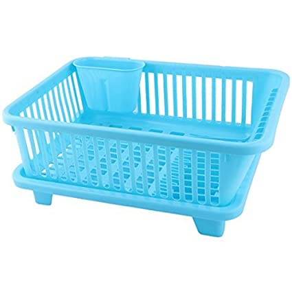 Placa de cocina de plástico eDealMax Escurridor de cubiertos lateral Salida de agua en rack Organizador