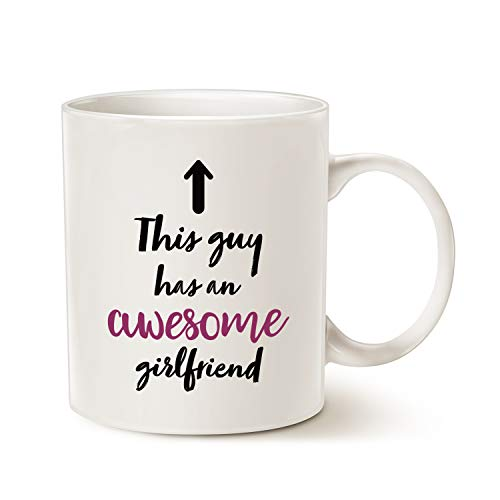 MAUAG Christmas Gifts Cute Boyfriend Coffee Mug, This Guy Has an Awesome Girlfriend Funny Best Valentines Day Gifts For Boyfriend, 11 Oz Present Ideas Cup White