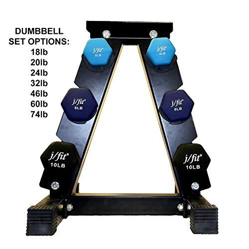 JFIT Dumbbell Pairs and Sets – 8 Vinyl Dumbbell PAIRS options or 5 Neoprene Dumbbell rack SET options – Premium Non-Slip…