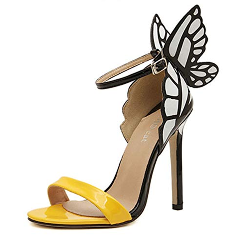 Women Sandals, ❤️ FAPIZI Summer Open Toe High Block Heel Sandals Butterfly Party Wedding Prom Sandals Shoes Yellow