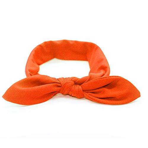 (Women/Baby Girl Elastic Bow Hairband Turban Knotted Rabbit Hair Band Headband UY (Color - orange))