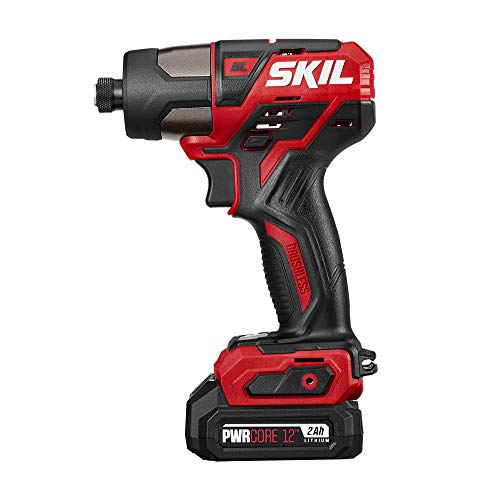 SKIL PWRCore 12 Brushless 12V 1/4 Inch Hex Cordless Impact Driver, Includes 2.0Ah Lithium Battery and Standard Charger - ID574403 12v Cordless 1/4' Impact Driver