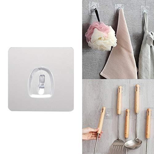 10 PCS Waterproof Anti-Skid Hooks Reusable Washable Wall Hanging Hooks Adhesive Transparent Hooks for Bathroom Kitchen Bedroom