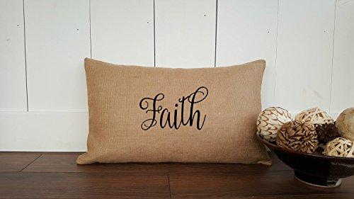 Arthuryerkes Faith Cotton Canvas Burlap Pillow Cover Burlap Pillow Cover Zipper Enclosure Rustic Home Decor Rustic Chic by Arthuryerkes