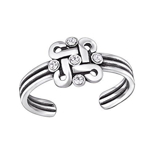 Ring Celtic 14k Toe (Silvernshine Jewels 0.4 Cts Round Sim Diamond Celtic Knot Adjustable Toe Ring in 14K White Gold Fn)