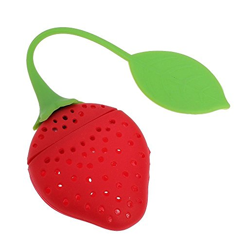 strainer - SODIAL(R)Strawberry Silicone Tea Infuser Strainer Suitable for Use in Teapot,Teacup Red