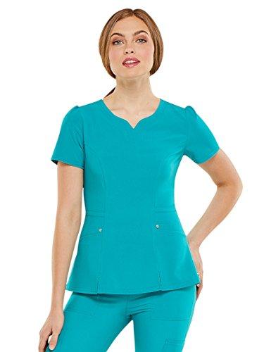 HeartSoul Love Always Women's V-Neck Solid Scrub Top Medium Teal Blue