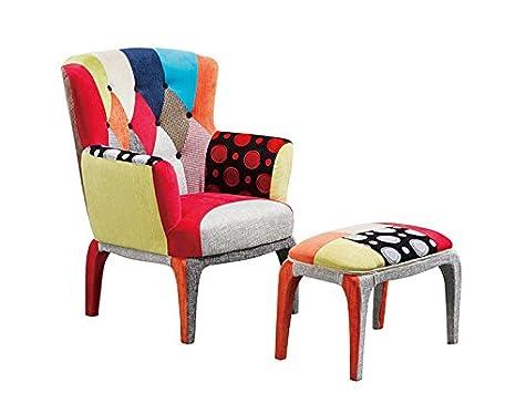 Set poltrona e puff design patchwork colorful arredamento