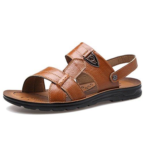 Pantofole Di Beach Grandi In Open Dimensioni Shoes Vera Maschio Toes Per Sandali Pelle Estate Pap 7pqwHadq