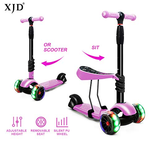 XJD 3-in-1 Kick Scooter Toddler Scooter with Removable Seat Great for Kids Boys Girls Adjustable Height Extra-Wide Deck PU Flashing Wheels Children from 2 to 14 Year-Old (Pink)