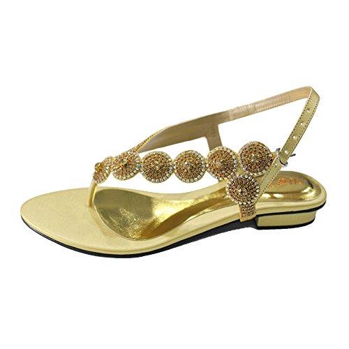 10 Gold Mode Frauen Sandale Silber Hochzeit Party W SUNNY Schuhe W Damen Abend Größe Prom Schwarz Gold 4 xTwB7qF