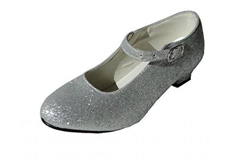 Zapatos de tacón grises con purpurina plateada para niñas y adultas, zapatos de baile para flamenco y tango Argenté Pailleté