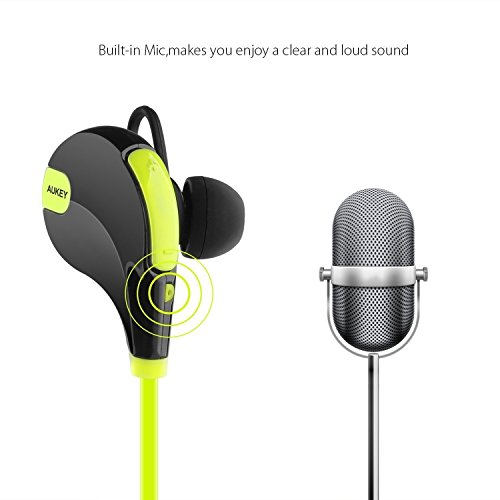 aukey bluetooth headphones wireless sport earbuds with built in remote and microphone for. Black Bedroom Furniture Sets. Home Design Ideas