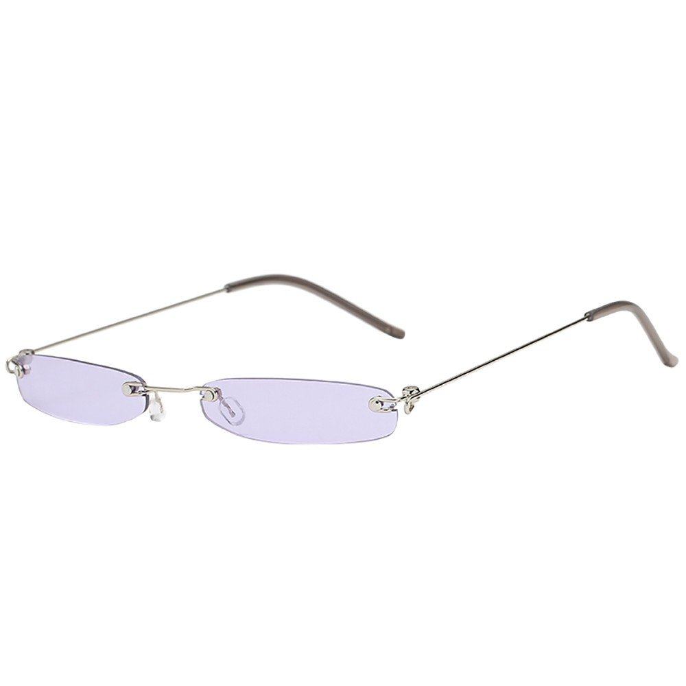 KCPer Unisex Vintage Metal Transparent Small Frame Sunglasses