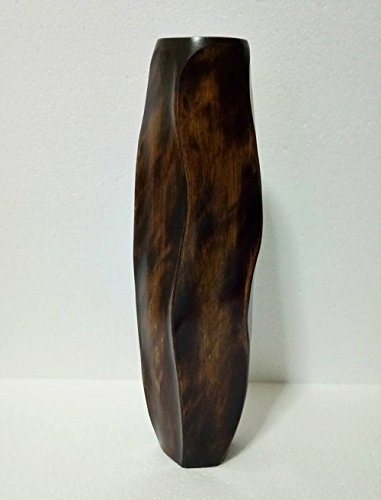 Tall Floor Vase Wood brown , 16.5 inches beautiful Strong quality from Thailand. by Sandeko (Image #2)