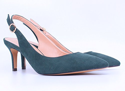 Heels Sandals Women's Pointed Shoes Toe On Mid green Stiletto Heels SUNETEDANCE Suede Slip Slingback Pumps Kitten 7Sxdf0
