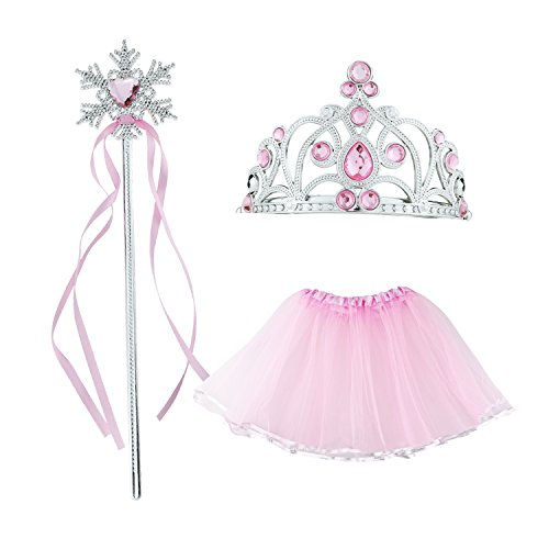 M SANMERSEN 3-6 Year Old Toys, Kids Princess Tiara-Crowns Pink Fairy Princess Tutu Wing Wand Set For Girls Dress-Up Princess Costume Gifts for 3 4 5 6 Year Old (Happy Halloween Sms)