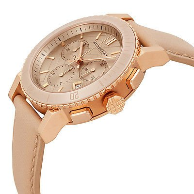 Burberry The City SWISS LUXURY CERAMIC Women 38mm Round Rose Gold Chronograph Watch Nude Leather Band Nude Sunray Date Dial BU9704 by BURBERRY (Image #2)