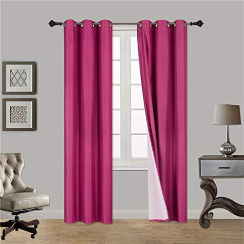 Gorgeous HomeDIFFERENT Solid Colors & Sizes (#72) 1 Panel Solid Thermal Foam Lined Blackout Heavy Thick Window Curtain Drapes Bronze Grommets (HOT Pink, 63