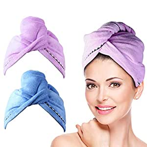 2 Pack Hair Towel Wrap Turban Microfiber Drying Bath Shower Head Towel with Buttons, Quick Dryer, Dry Hair Hat, Wrapped Bath Cap by Duomishu